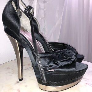 Bebe black satin high heels